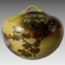 Fine Antique Hand Painted Asian Covered Vase Chrysanthemum Flowers Signed