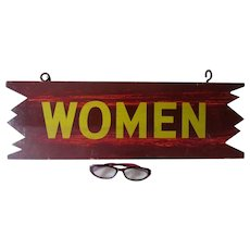 Vintage Hand Painted Wood Camp Sign, WOMAN