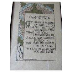 Antique Arts & Crafts, A Friend Motto Poem in Original Frame