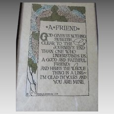 Antique Arts & Crafts, A Friend Motto Poem in Original Frame