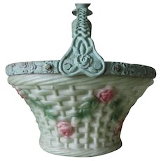 Lovely Antique Art Nouveau Rose Basket Chandelier Light Fixture