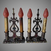 Pair Antique Table Lamps, Candlestick Style with Gargoyles, Original Paint