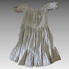 Antique c1860 - 1870s Boy or Girl Child's Dress, Brown Polka Dots