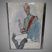 Antique Watercolor Painting of a French Military Officer