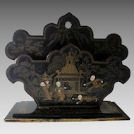 Antique c1880s Paper Mache Letter Holder with Asian Motif