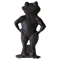 Whimsical Antique Cast Iron Smiling Frog, Toad Doorstop
