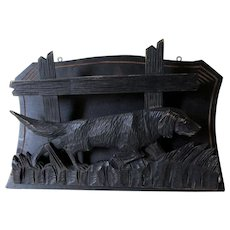 Antique German, Swiss Hand Carved Black Forest Wall Rack with Dog