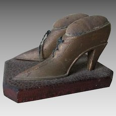 Whimsical Antique Folk Art Hand Carved Shoes Sewing Pincushions