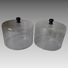 Pair Antique Blown Glass Food Covers, Terrarium, Bell Jars