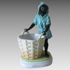 Antique 19thC European Porcelain, Blackamoor with Basket Figurine