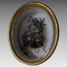 Antique 19thC Hair Wreath, Victorian Mourning Shadowbox