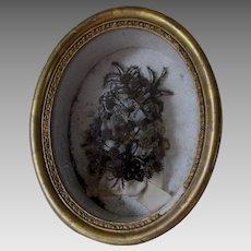 Antique 19thC Hair Wreath, Victorian Mourning Shadowbox