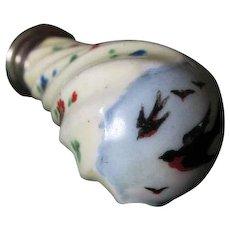 Antique Porcelain Wax Letter Seal with Bluebirds & Flowers