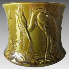 Antique Art Pottery Jardiniere, Planter with Heron Bird
