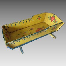 Charming c1940s Tole Painted Doll Cradle with Angel & Hearts