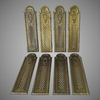 Matched Set of 8 Architectural Door Push Plates, Brass Hardware