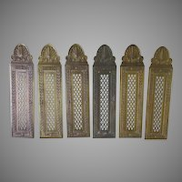 Matched Set of 6 Architectural Door Push Plates, Brass Hardware