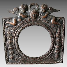 Antique Repousse Mirror, Picture or Clock Frame with Cherub Angels