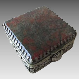 Lovely Miniature Box with Lion Head, Red & Green Agate Stones