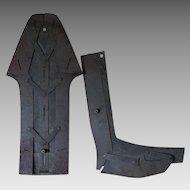 Primitive Antique c1855 Cobblers Sewing Pattern, Shoe Makers Boot Pattern