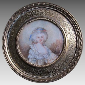 Vintage Miniature Painting, French Lady in Powdered Wig