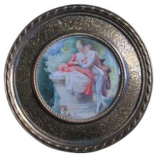 Vintage Miniature Painting Couple, King Charles Spaniel