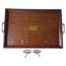 Lovely Antique Victorian, Edwardian Inlaid Oak Serving Tray
