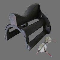 Antique Saddle, Horse Tack Hook, Cast Iron & Wood Architectural Hook