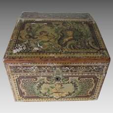 Antique French, German Desk, Stationary Box with Cherub Angels