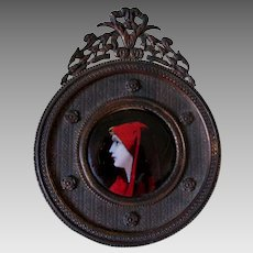 Pretty Antique French Enamel Limoges Plaque, Lady in Red