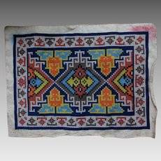 Antique Needlepoint Tapestry, Oriental Rug Pattern, Upholstery or Pillow