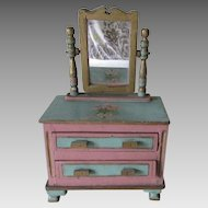 Charming c1930s Miniature Doll Dresser, Chest of Drawers, Old Paint