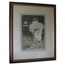 Circa 1920s Print, Girls with Doll & Dog, First Sorrow