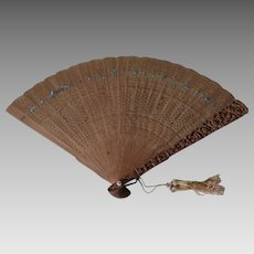 Antique Chinese Cantonese Ladies Fan, Sandalwood, Vanity, Fashion Accessory