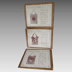 3 Victorian, Edwardian Embroidery Picture Frame Printed Fabric Kits
