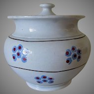 Early 19thC Soft Paste Porcelain Sugar Bowl with Sponged Polka Dots