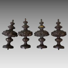 4 Antique Bronze Finials, Architectural, Clock or Furniture