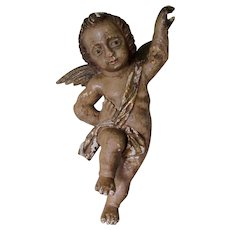 Antique Italian Hand Carved Wood Angel in Original Paint