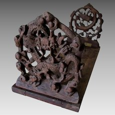 Antique Asian, Chinese Hand Carved Wood Bookends, Desk Accessory