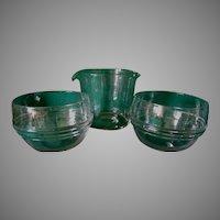 Antique c1800s Blown Glass Tea Caddy Set, Tea Mixing Set