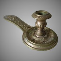 Antique Church Candlestick for Reading Scriptures, Angel & Grape Vines