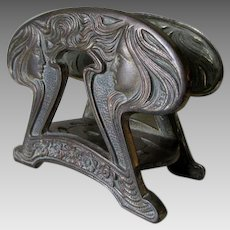 Antique Art Nouveau Letter Holder, Ladies with Long Flowing Hair