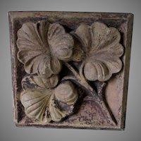 Antique Architectural Terra Cotta Tile with Ginkgo Leaf Motif