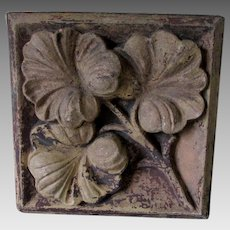 Antique Architectural Terra Cotta Tile with Ginkgo Leaf Motif