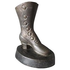 Antique Cast Iron Button Up Boot Match Safe, Desk Vanity Accessory