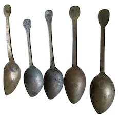 18thC French Spoons with Various Hallmarks, Hand Made Silverware