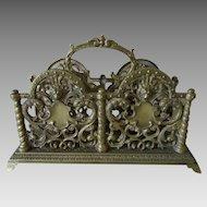 Antique Victorian Gothic Bronze Letter Holder with Lions, Gargoyles
