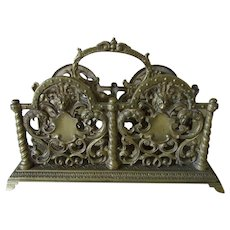Antique Victorian Gothic Bronze Letter Holder with Lions, Gargoyles