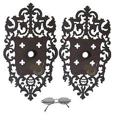 Large Pair of Antique Gothic Gargoyle Door Knob Back Plates