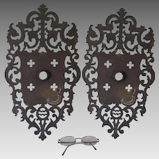 Large Pair of Antique Gothic Gargoyle Door Knob Back Plates
